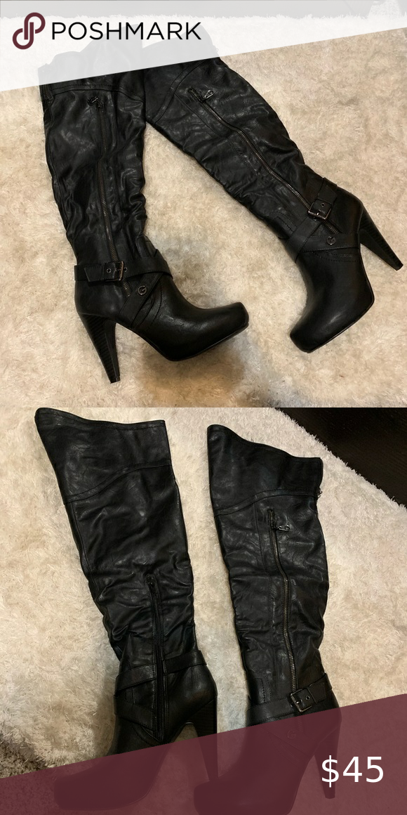 Guess over the knee high heel boots in