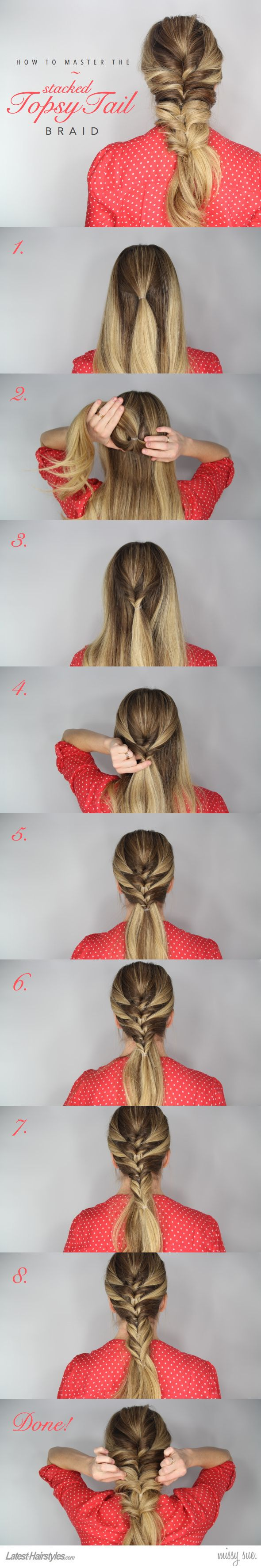 Stacked topsy tail braid tutorial things i should do pinterest