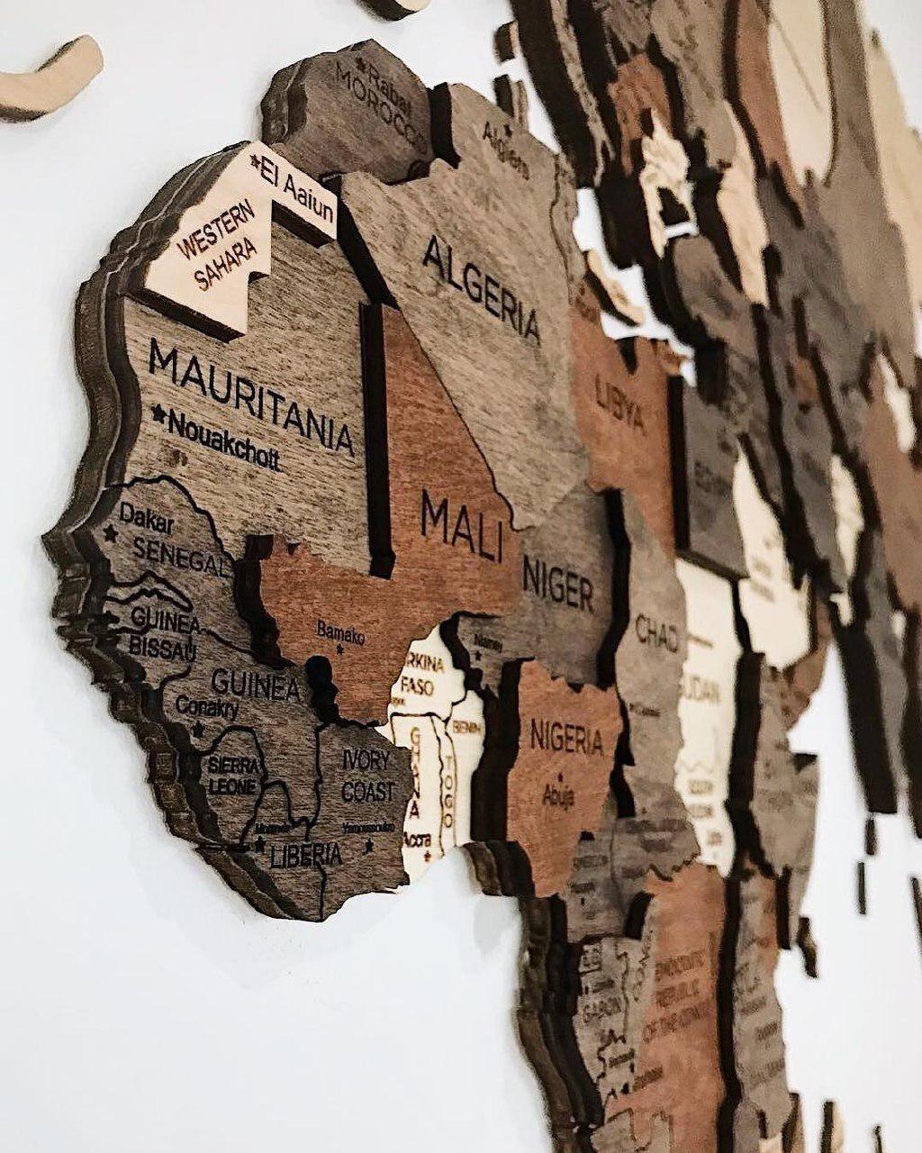 3D Wall Map World Wooden Map Decor idea Design Wood World