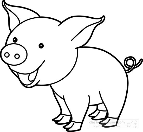 Cute pig black white clip art pinterest for Cute piglet coloring pages