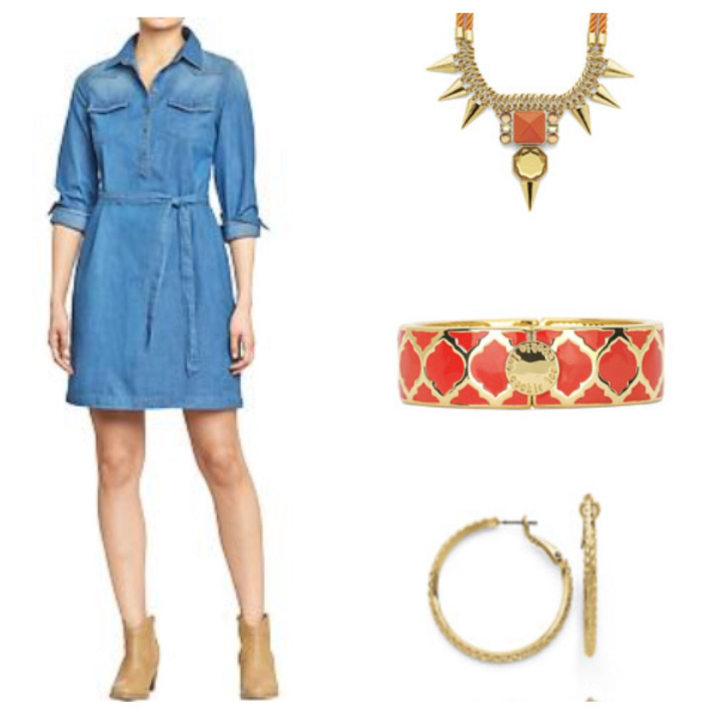 Add a pop of color to a shirt dress with Cookie Lee's : Art Affair Orange necklace ($42), and Orange Marrakech Bangle ($36)  Mixed Metal Earring Set $36 shop at www.cookielee.biz/amberbair1