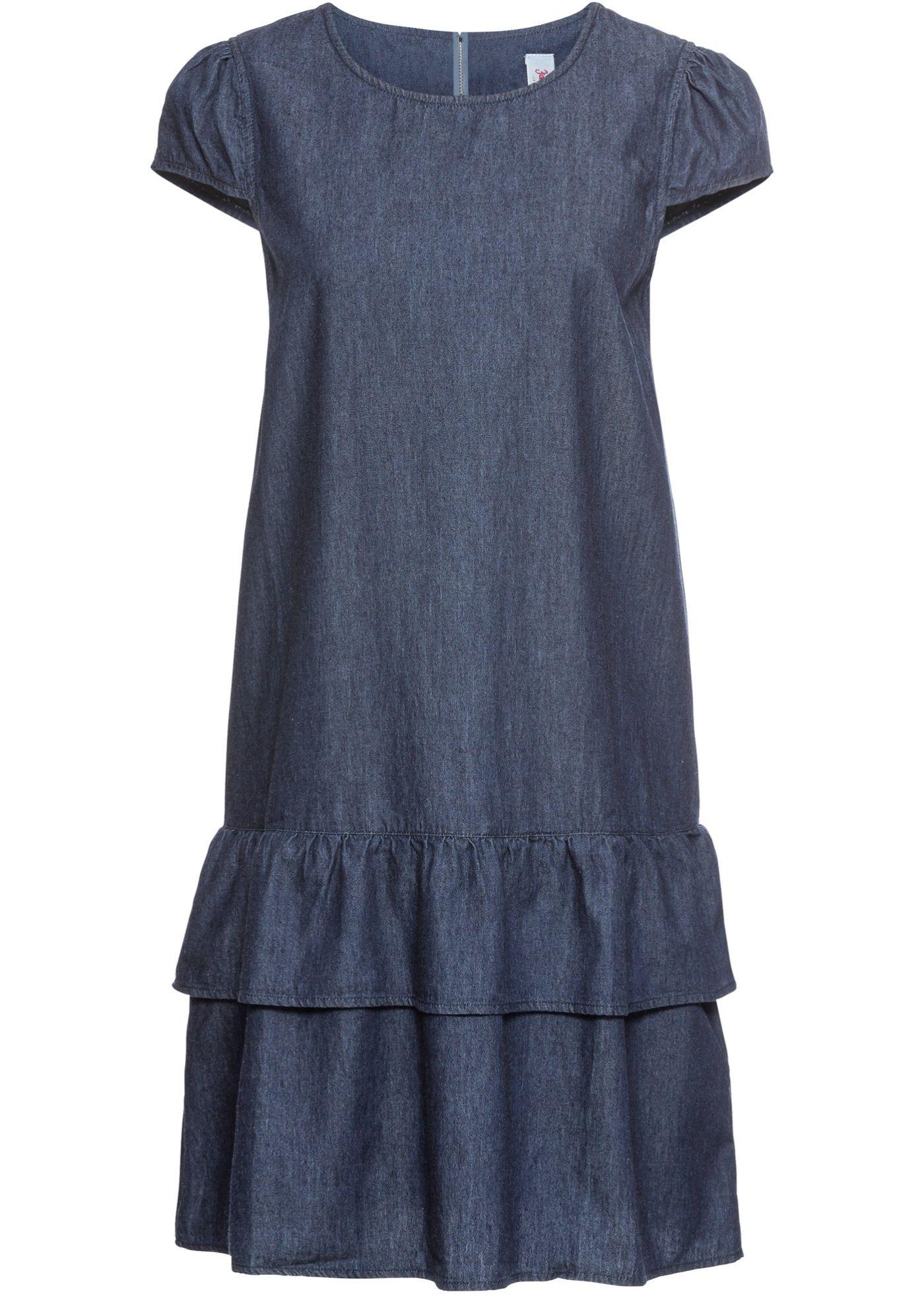 Kurzes Jeanskleid mit Volant und Reißverschluss ...