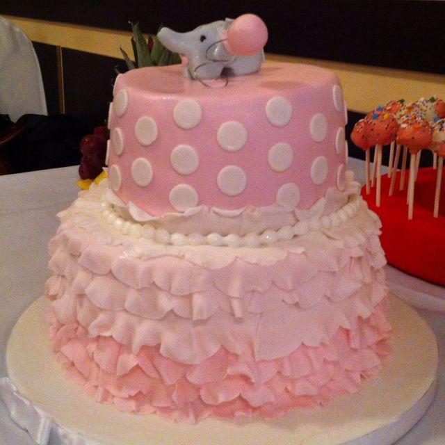 So Adorable. #pink Elephant Baby Shower #elephant Cake