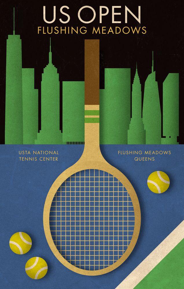 Us Open Tennis Poster Framed Art Print By Kinographics Vector Black Medium Gallery 20x26 In 2020 Tennis Tennis Art Tennis Posters