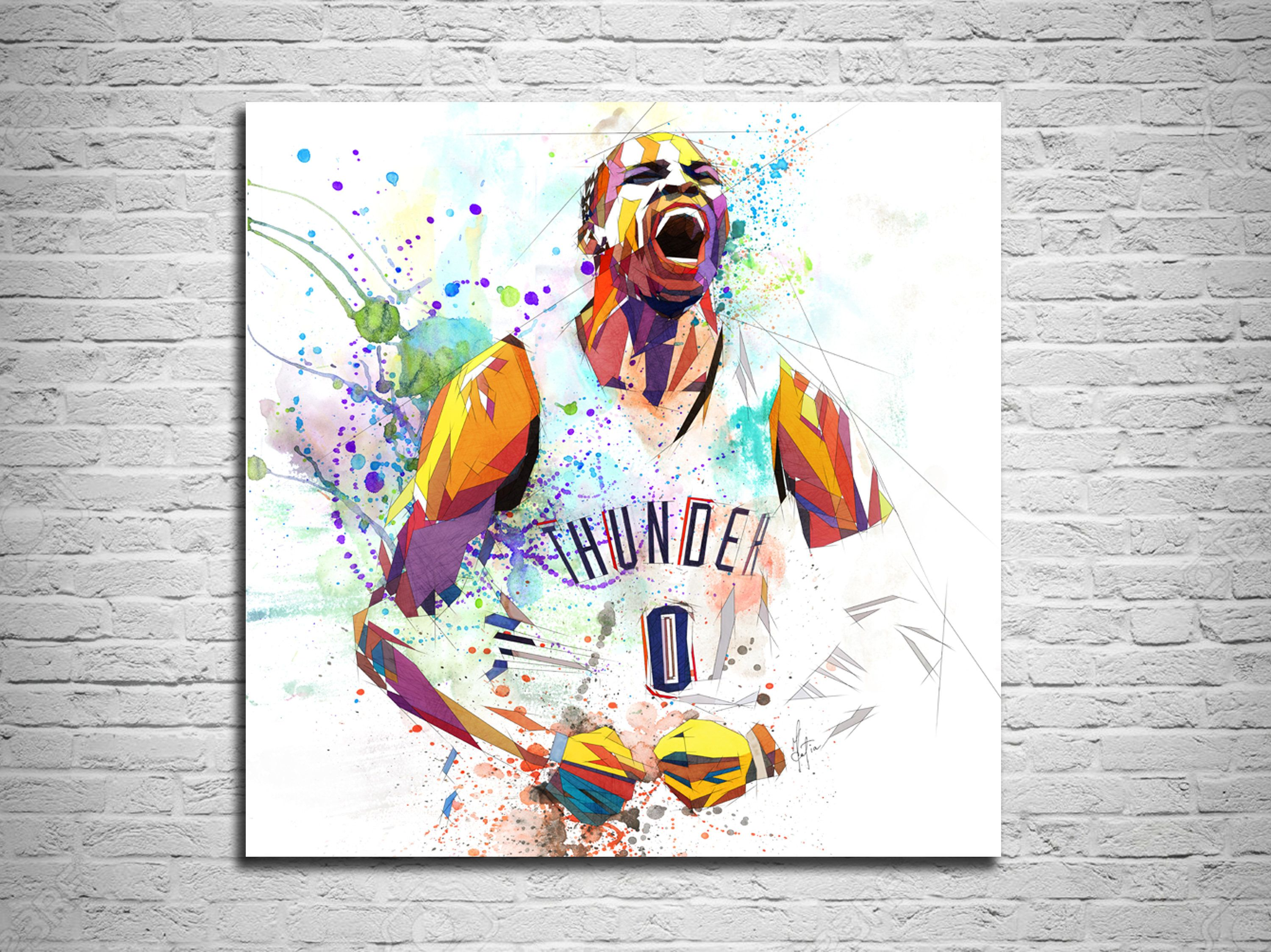 Canvas Print Russel Westbrook Basketball Poster Sports Fan Etsy Canvas Prints Man Cave Wall Art Quality Canvas Prints