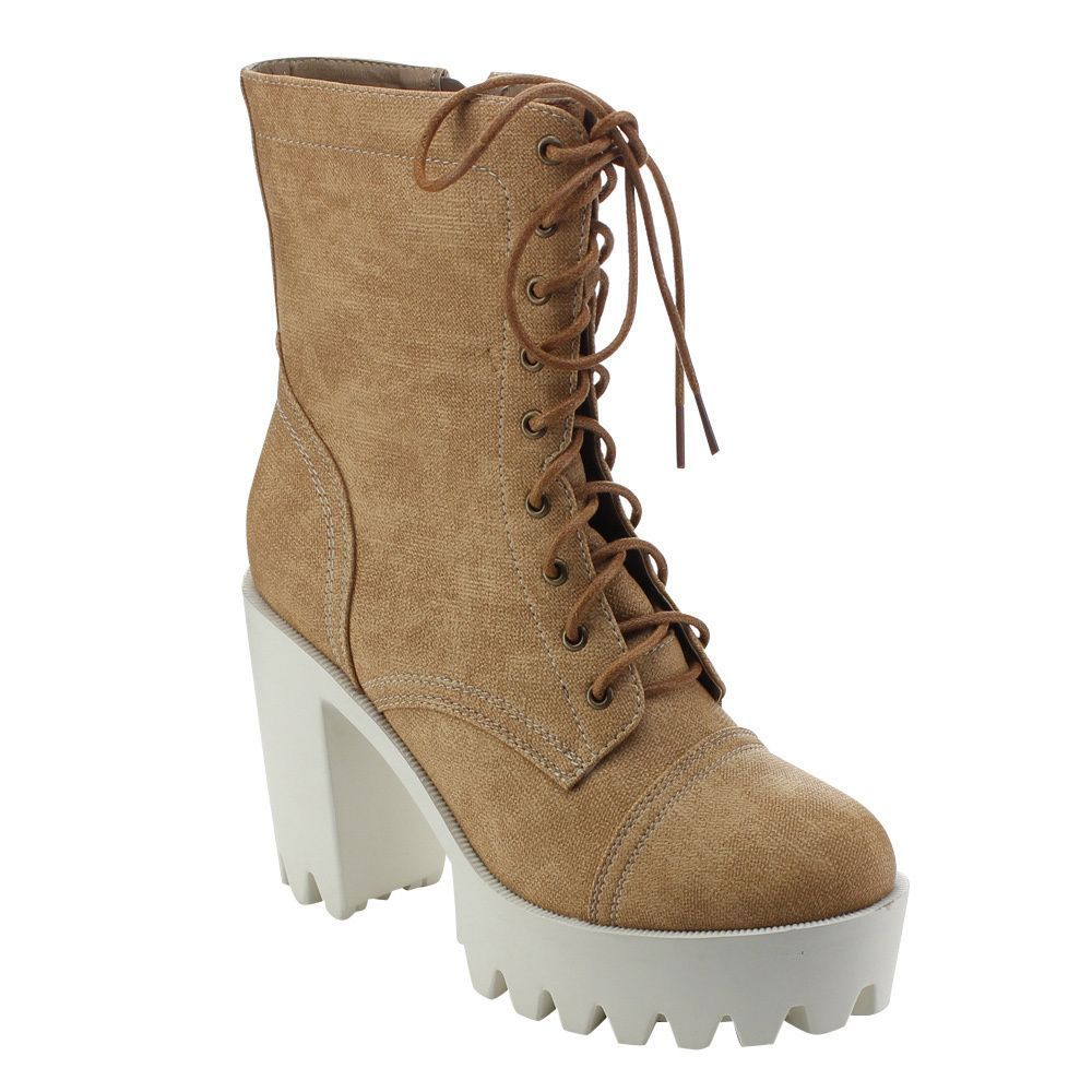 Refresh Women's Sabrina-01 Lug Sole Platform Mid-Calf Boots