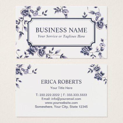 Event Wedding Planning Elegant Blue Floral Business Card Zazzle Com Floral Business Cards Wedding Planning Business Business Cards Elegant
