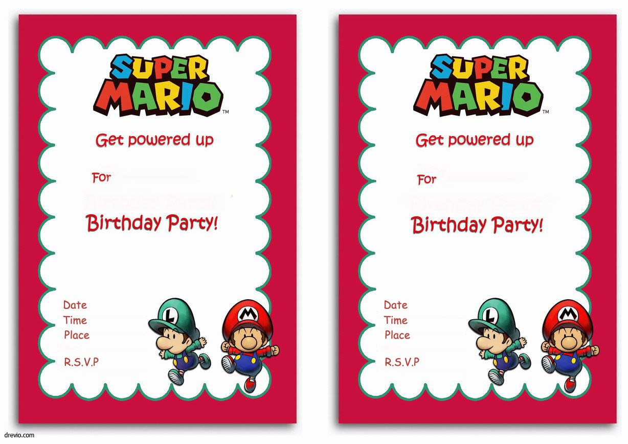 Free Printable Super Mario Bros Invitation Template Drevio Birthday Party Invitations Free Party Invite Template Super Mario Birthday