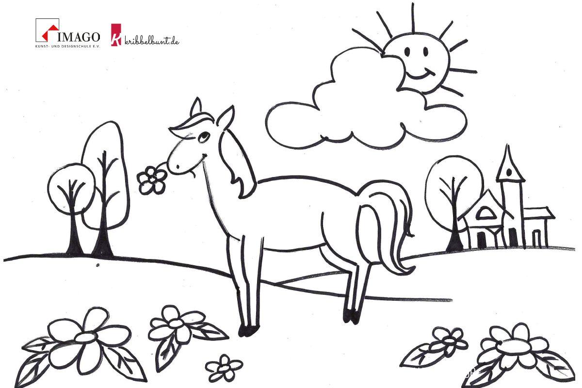 Ausmalbild Pferd  Ausmalen, Ausmalbilder pferde, Ausmalbild