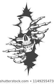 Photo of Menschlicher Schädel, der durch das Loch gezeichnet in Tätowierungsart lugt. Vektor-illustrat…