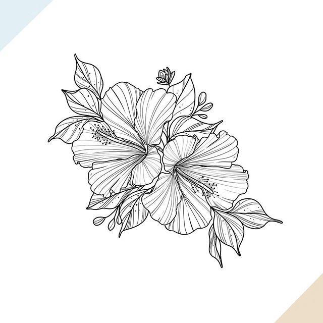Nathalybonilla Tattoo On Instagram Hibiscus Flower Only Lines Flowerta In 2020 Hibiscus Flower Tattoos Hawaiian Flower Tattoos Flower Tattoo Shoulder