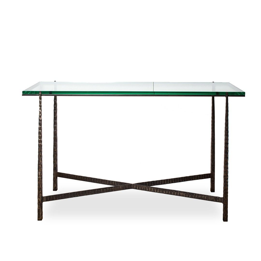 +Modern+Steel+Base+Console+Table+with+Glass+Top