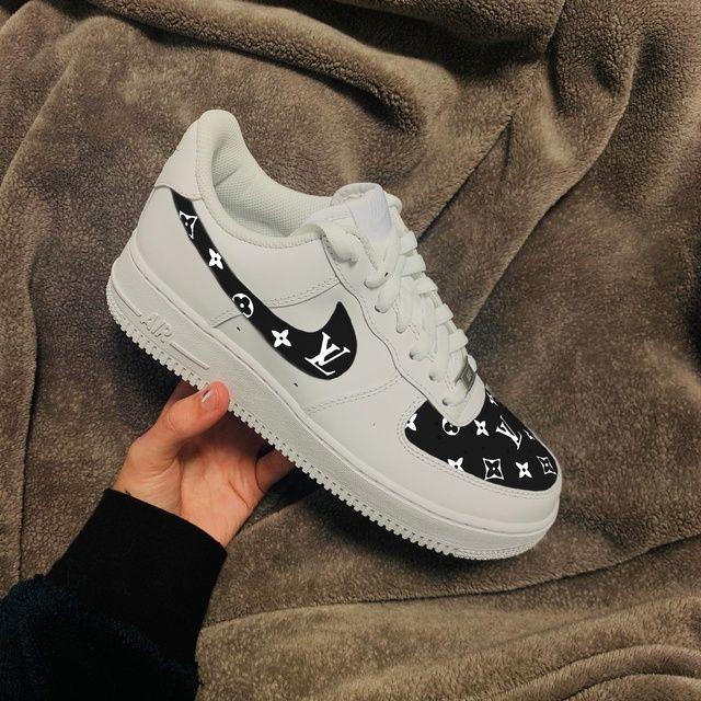 Black Louis Vuitton pattern Nike Air Force 1   THE CUSTOM ...