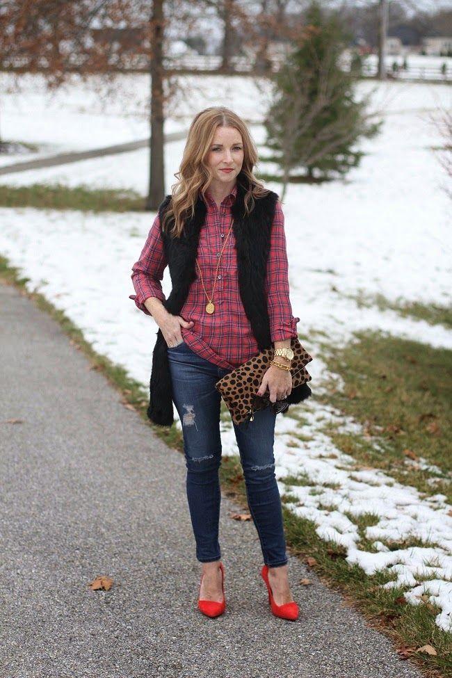 love token fur vest, jcrew plaid shirt, AG skinny jeans, Madewell red heels, Cla…