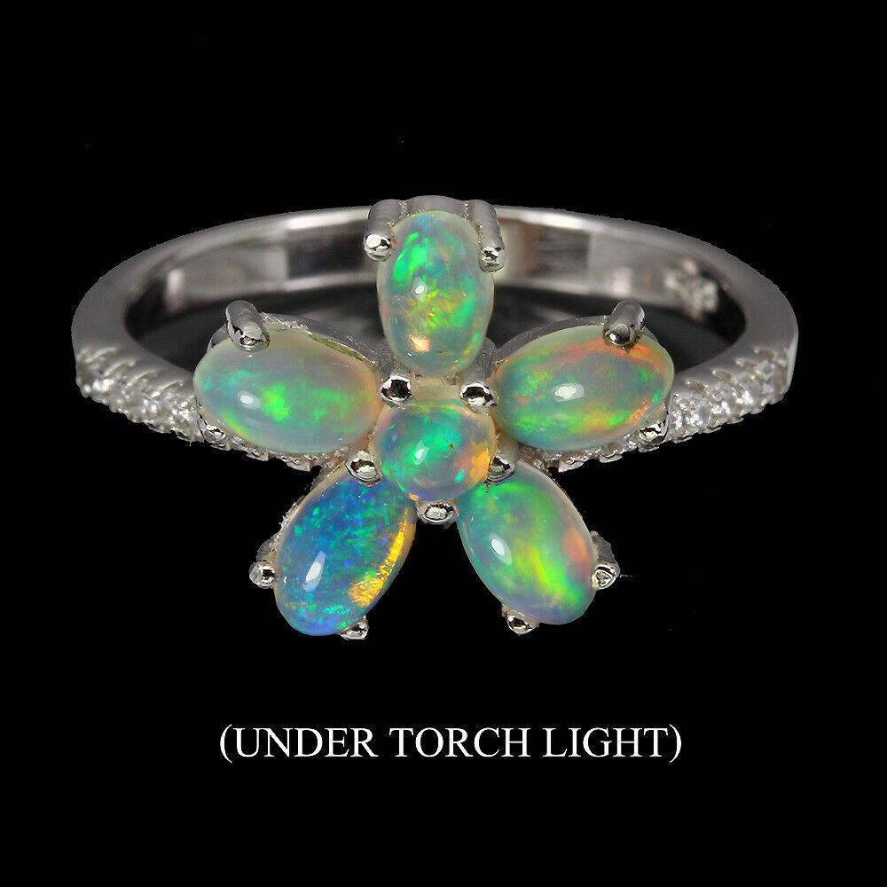 Unheated Oval Fire Opal Rainbow Full Flash 5x3mm 925 Sterling Silver Ring
