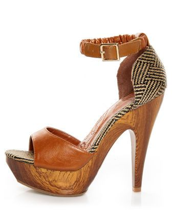 new photos various styles special sales Mona Mia Trinidad Tan Woven Platform Heels | Heels, Lace up heels ...