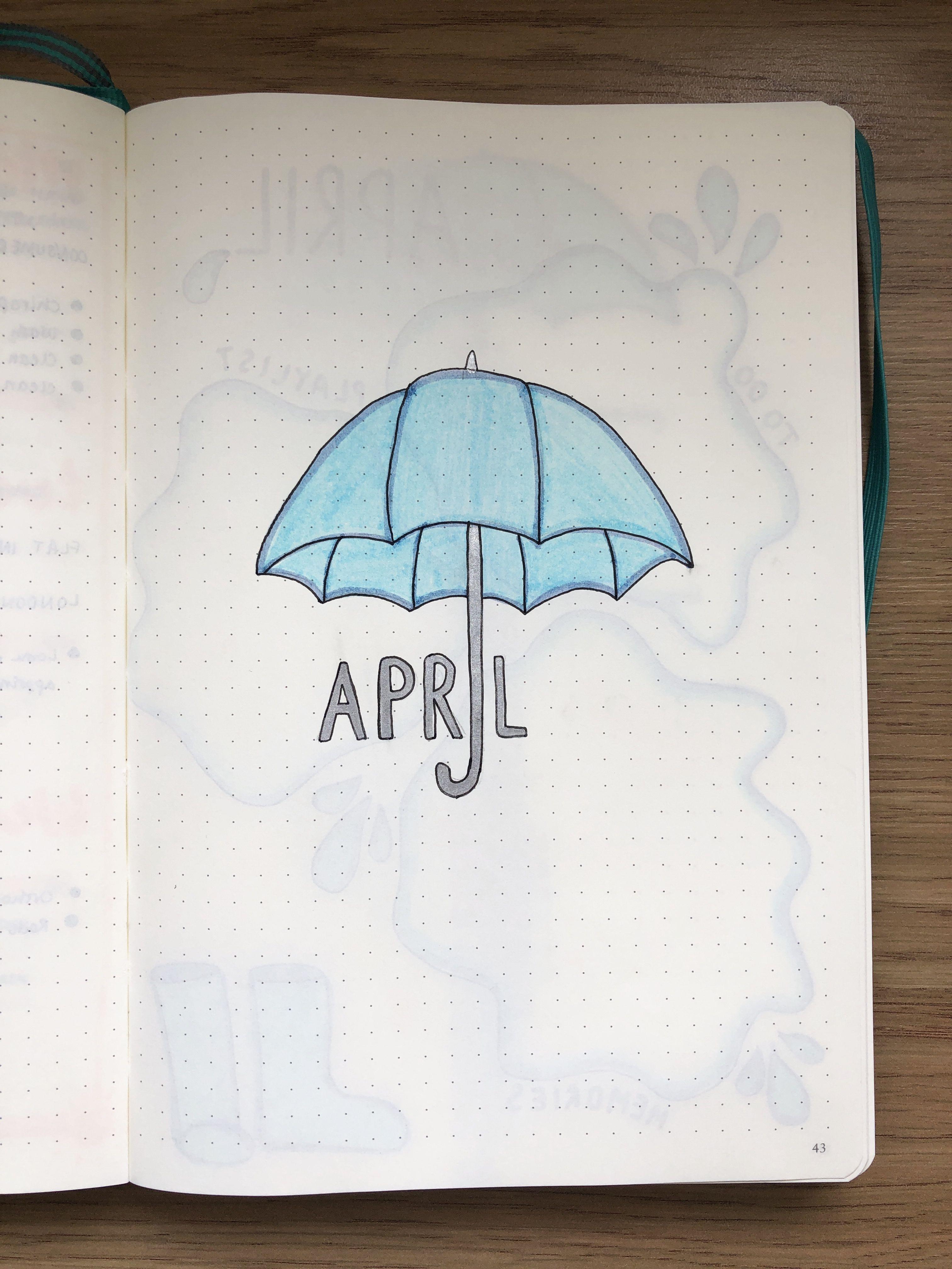 april • bullet journal • cover • rain • umbrella • blue • silver • simple •
