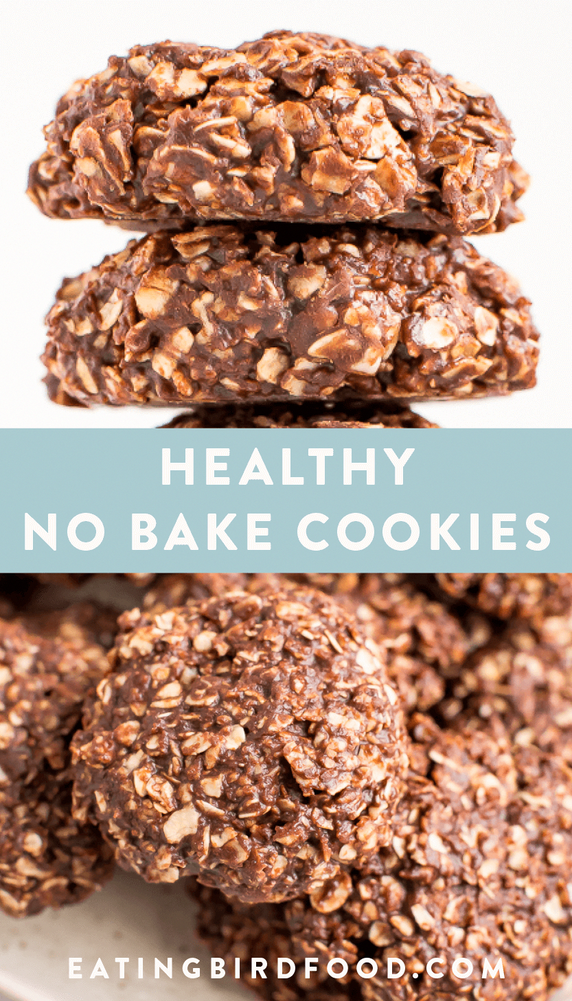 Peanut butter chocolate healthy no bake cookies made with half the amount of sugar in traditional no bake cookies and coconut oil instead of butter. Dairy-free, vegan and refined sugar free.#vegan