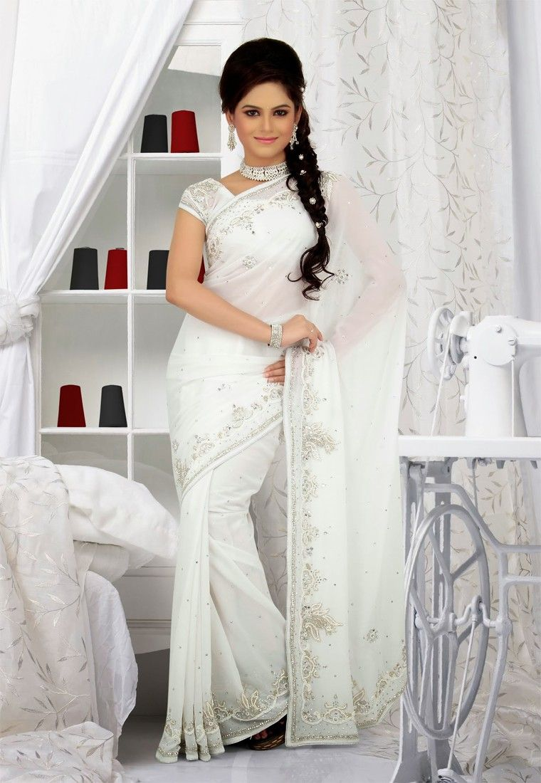 Real Beauty Comes Out From Your Dressing Style With This White Color Designer Saree