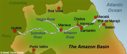 The Amazon River And Basin Map Brazil Travel Guide Map