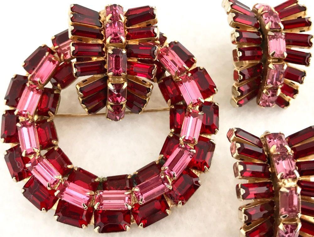 Vtg 3D KRAMER of NEW YORK Red Pink Baguette Rhinestone Pin Brooch Earrings Set #Kramer #Vintage