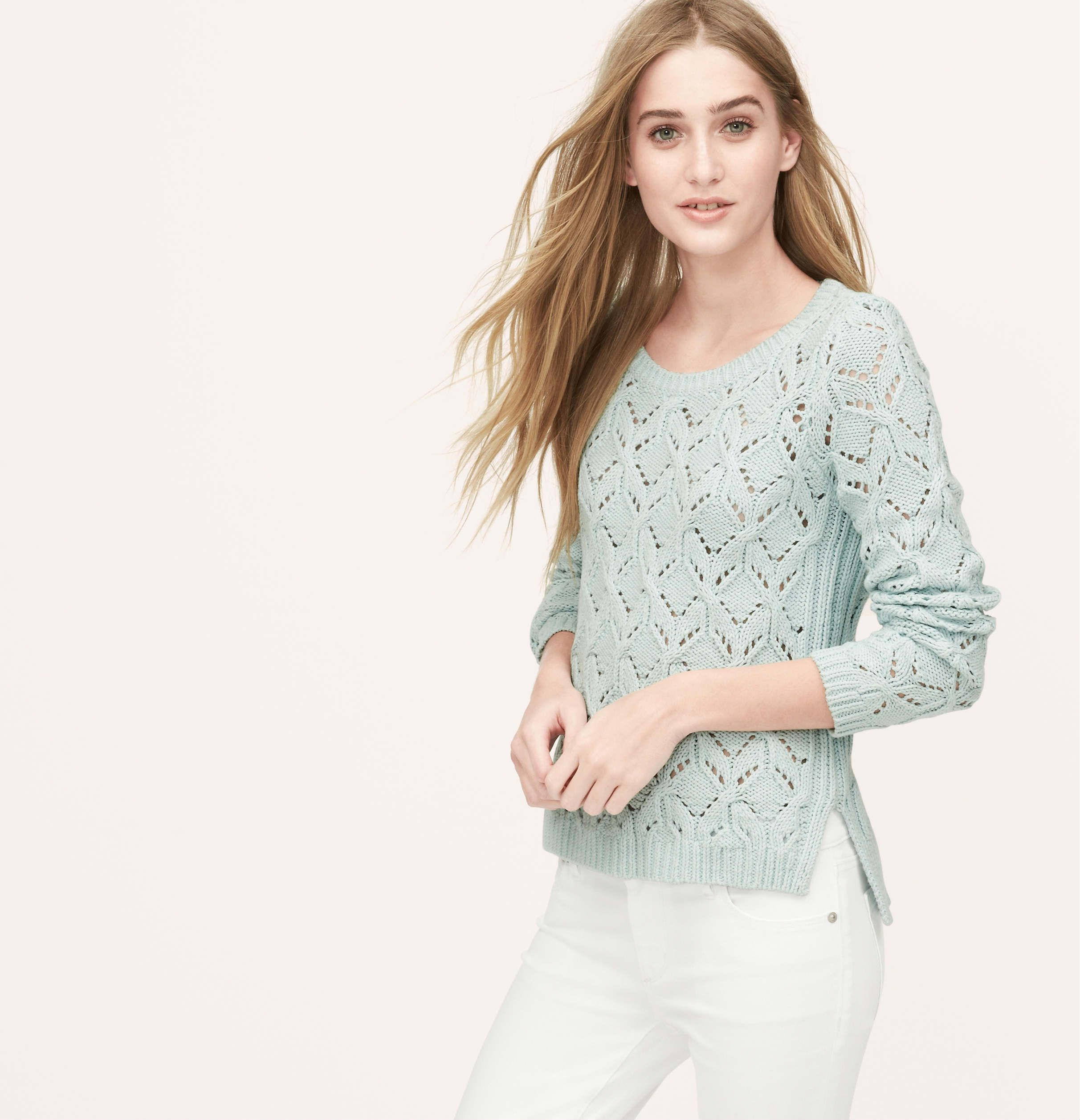 61af0b76a49944 Diamond Pointelle Sweater