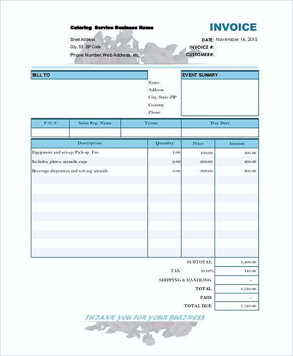 Catering Bill Invoice Contractor Invoice Template Tips To Make - 1099 contractor invoice template