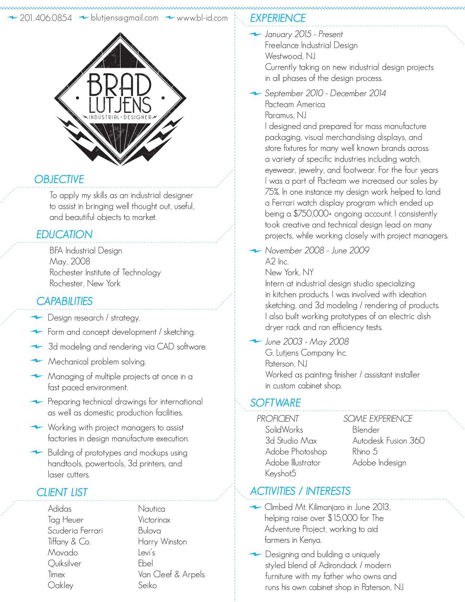 brad lutjens resume jpg design resumes pinterest design resume