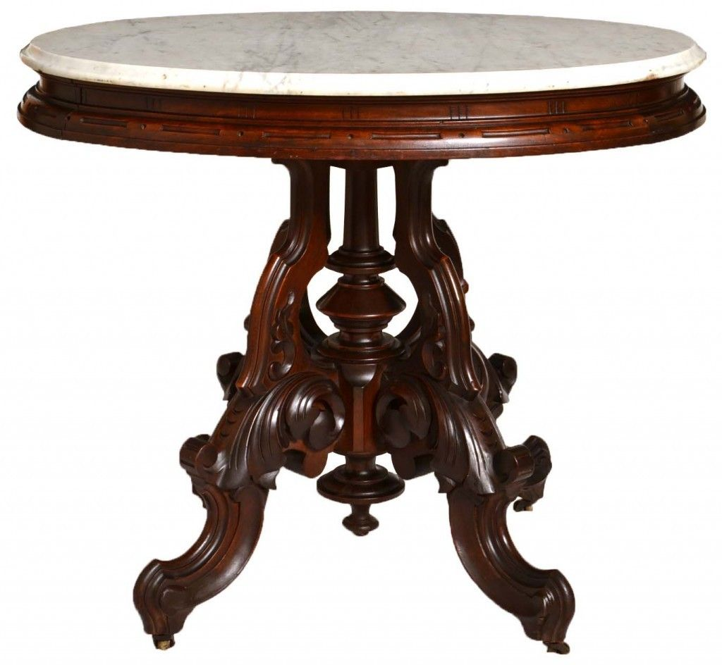 Oval Victorian Walnut Marble Top Table Attributed To Thomas Brooks Found At  Www.rubylane.