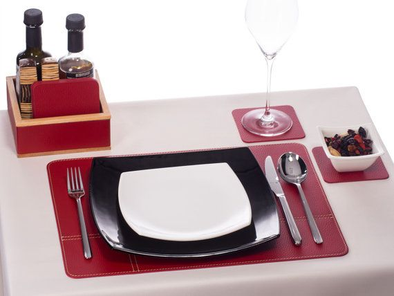 Table Placemats Sets Red And Coasters Set