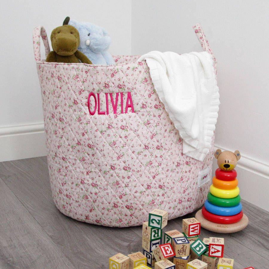 Personalised Pink Ditsy Storage Bag Bins Tubs Playroom Baby