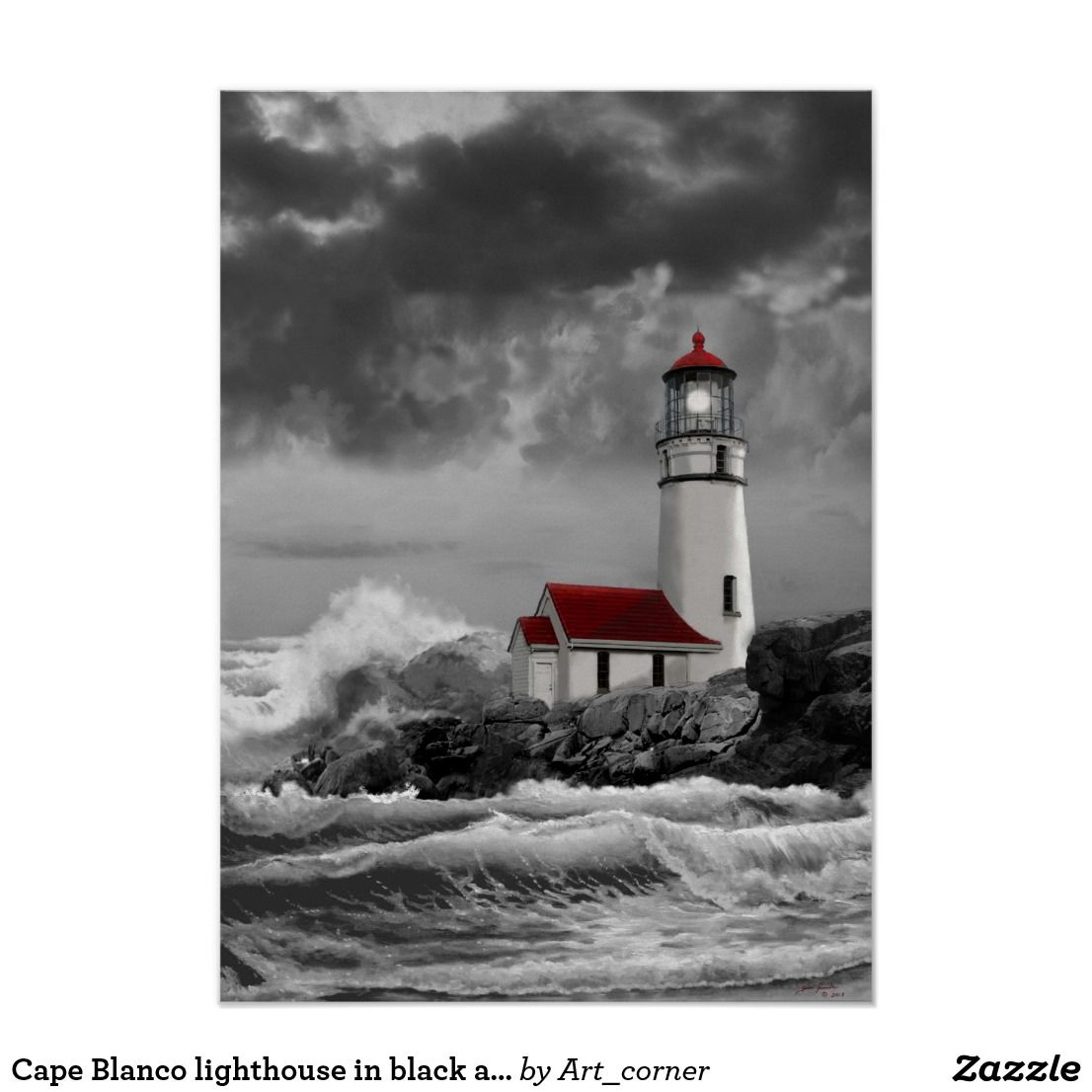 Unique, beautiful black and white picture with red highlights. Cape Blanco lighthouse along the Oregon Coast - poster. #ad #Oregon #OregonCoast