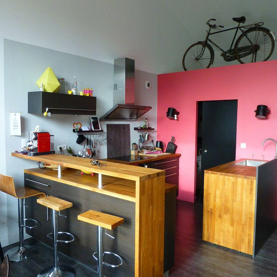 une cuisine ...rose! et sportive!