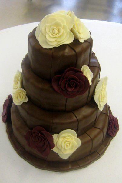 Chocolate with Mod Roses Wedding Cake Www.CustomDesignCatering.com