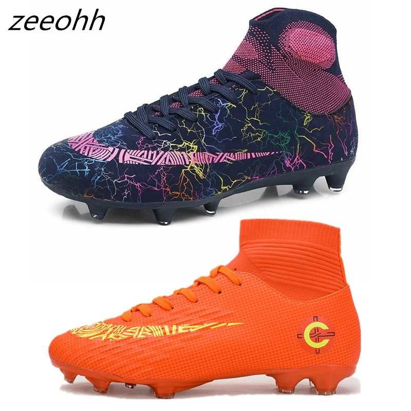 Outdoor Men Soccer Shoes Football Boots High Ankle Kids