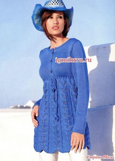 синяя вязанная туника подойдет для беременных Apģērbi платья