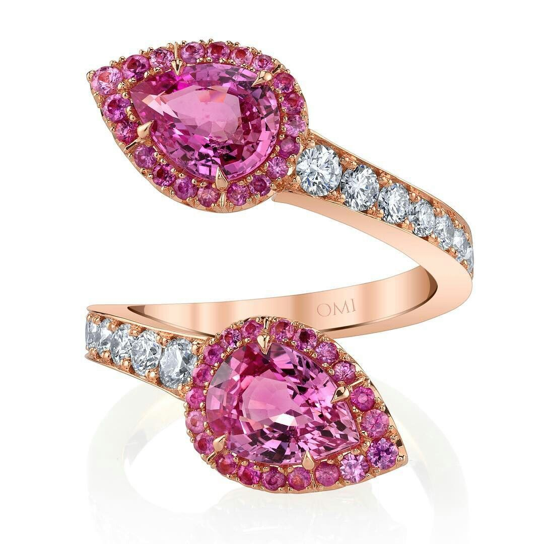 Pink bypass set in 18K gold! #pinksapphire #pinkring #pink #sapphire ...