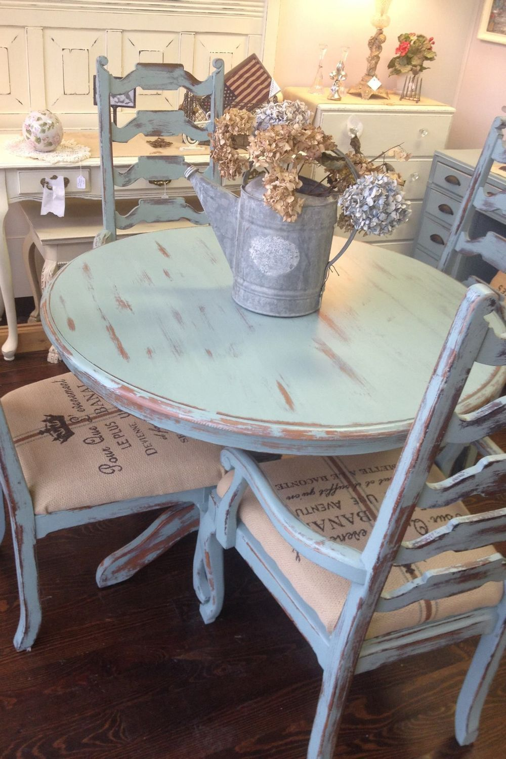 Home Dining Room Decor   Table Shabby chic dining table Chair ...