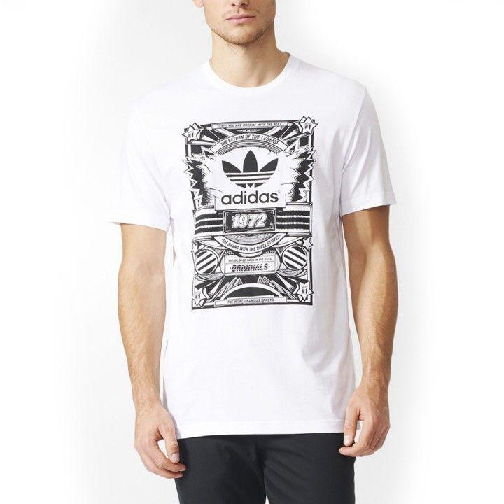 Camiseta Adidas Originals Street Originals Tee en color blanco para hombre.  Estampado frontal con el d6dac4f4b3bd6