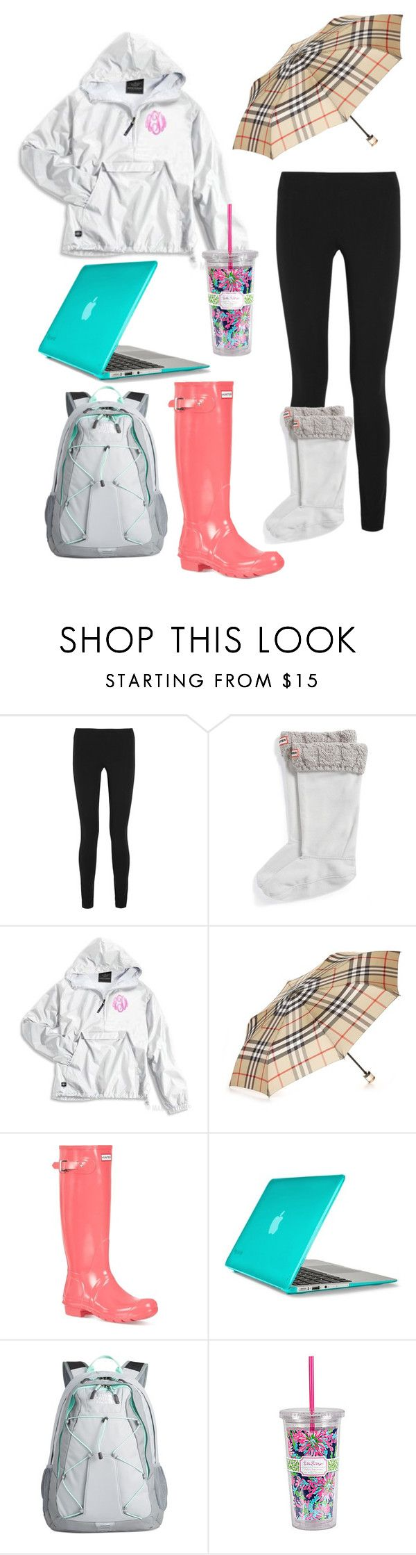"""""""School on a rainy day"""" by clhartsell9 ❤ liked on Polyvore featuring Helmut Lang, Hunter, Burberry, Speck, The North Face and Lilly Pulitzer"""