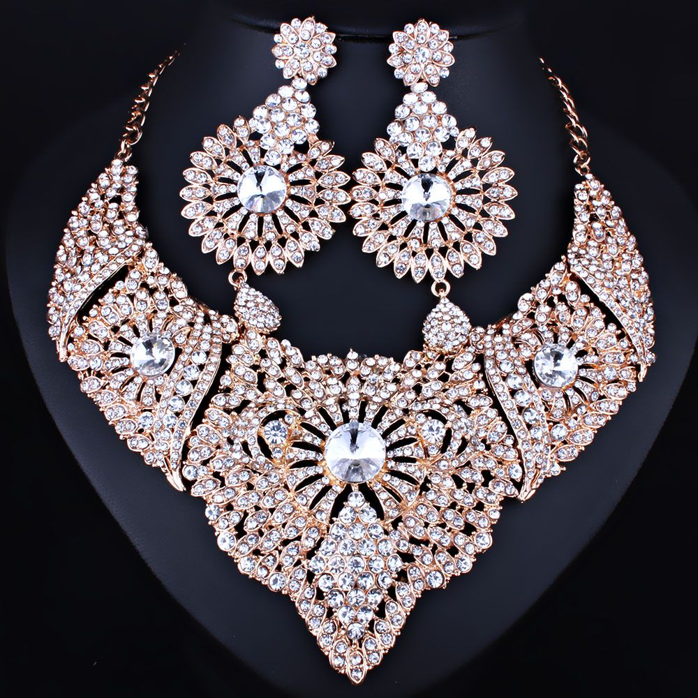 Farlena Jewelry Clear Crystal Necklace And Earrings Set For Women Wedding Party Indian Bridal Sets