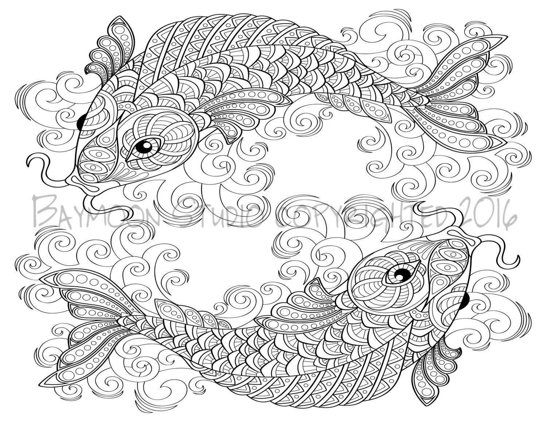Página para colorear de Koi páginas imprimibles por BAYMOONSTUDIO ...