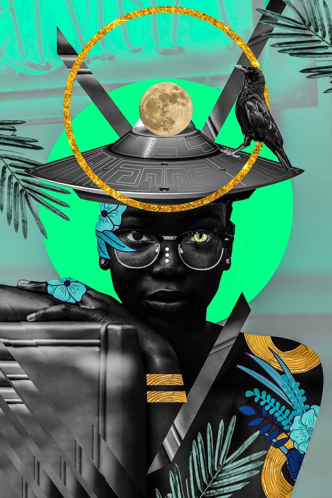 Afrofuturism collages of kaylan michel art african art