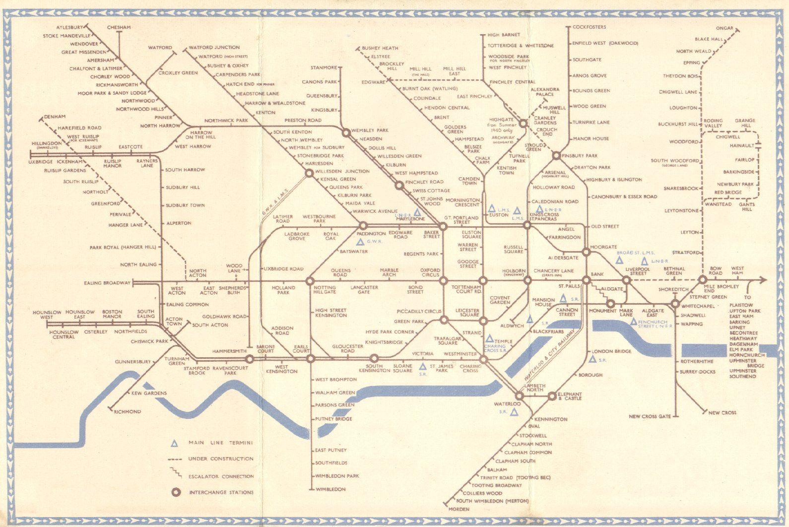 1940 Subway Map.1940 Underground Lines Schleger In Wartime Monocrome London