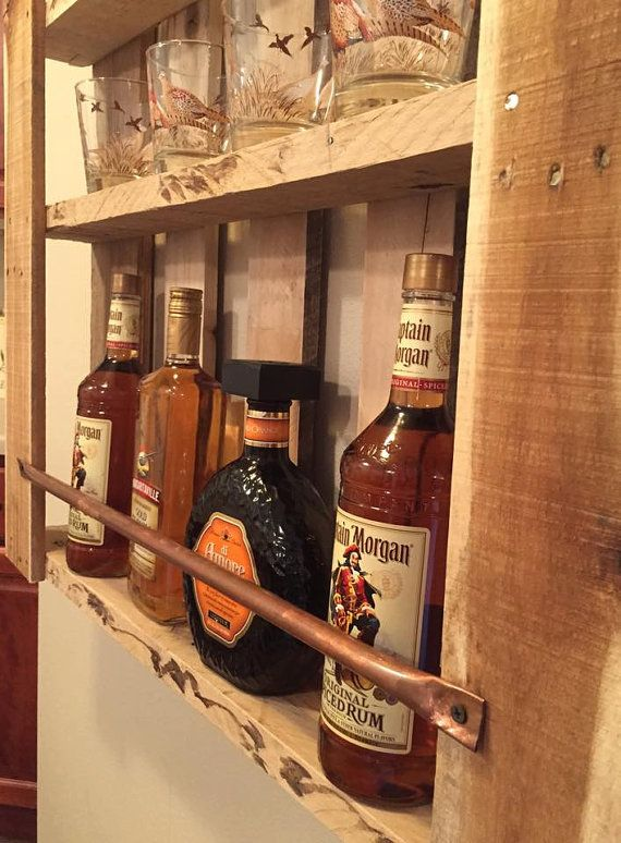 Rustic Pallet Furniture Wood Wall Shelf Liquor By