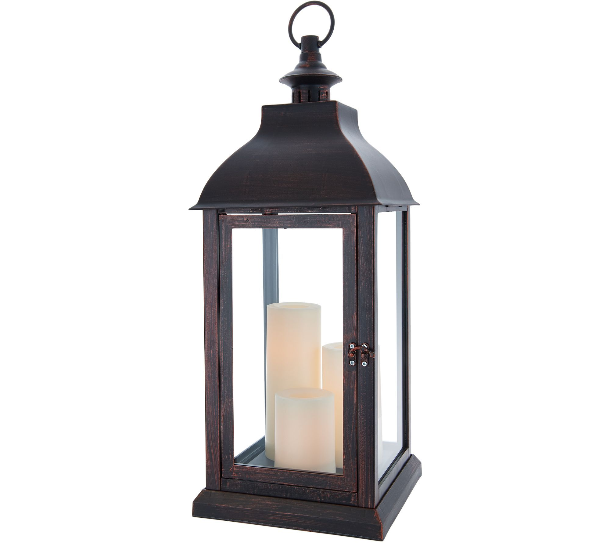 Candle Impressions Large Indoor Outdoor Lantern With 3 Candles Page 1 Qvc Com Candle Impressions Outdoor Lanterns Large Outdoor Lanterns
