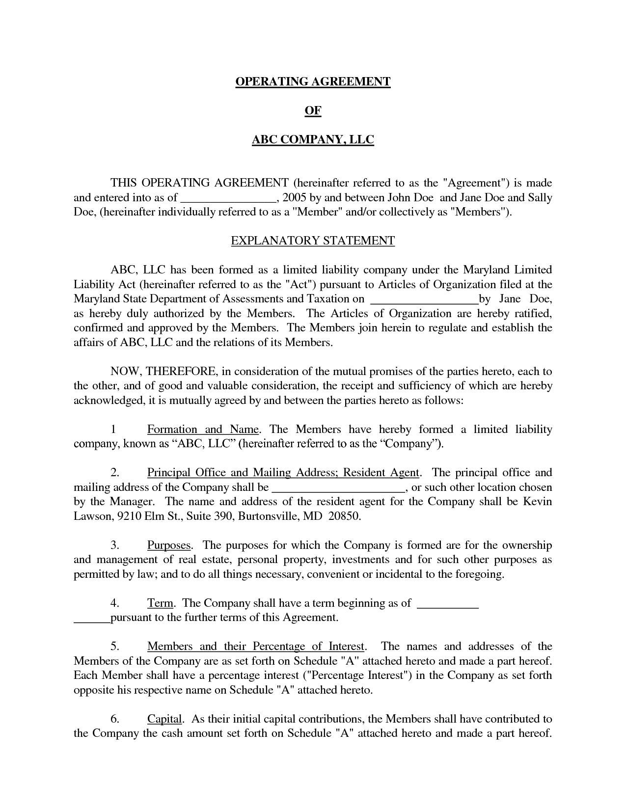 Basic LLC Operating Agreement By Jmcinerny Llc Partnership - New mexico llc operating agreement