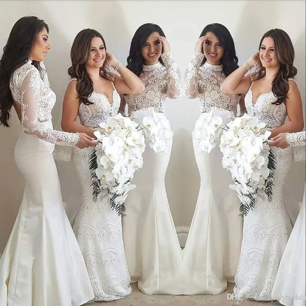 2018 New Arrival White Lace Mermaid Bridesmaids Dresses High Neck ...