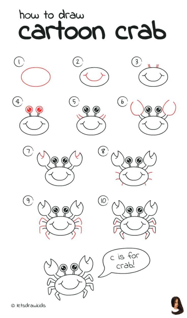 Crab drawing ideas einfaches für Kinder lassen perfekt ...