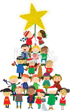 Full Of Details Illustration Of Several Cultures Children Forming A Christmas Trees For Kids Kids Christmas Christmas Classroom